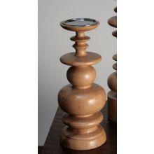 Medium Sculpted Blonde Wood Pillar Candle Holder