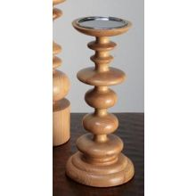 Small Sculpted Blonde Wood Pillar Candle Holder