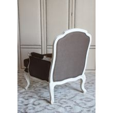 Oly French Style Club Chair with Anitique White Frame and Walnut Linen Upholstery