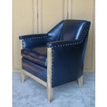 Blue Leather Club Chair with Nailhead Trim and Natural Reclaimed Wood Frame