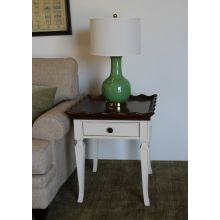 White End Table with Scalloped Wood Top