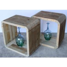 Open Wood Cube End Table