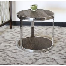 Round Reclaimed Wood End Table with Polished Chrome Steel Base