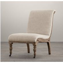 Deconstructed French Slipper Chair in Sand Belgian Linen