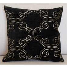 Black Velvet Pillow with Dotted Gold Pattern