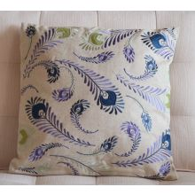 Embroidered Peacock Feathers Pillow