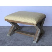 X Base Stool in Reclaimed Natural Wood Base with Yellow Striped Upholstery