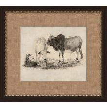 Antique Grazing Cows 19W x 17H