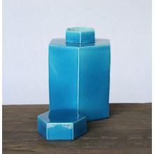 Turquoise Hexagon Tea Jar